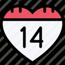 calendar1, day, heart, love, romantic, valentine, valentines