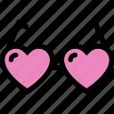 glasses, heart, love, love glasses, valentine icon