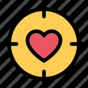 focus, heart, love, romantic, sight, target, valentine icon