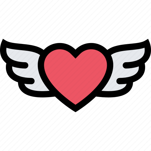 heart, love, romance, valentine, valentines, wings icon