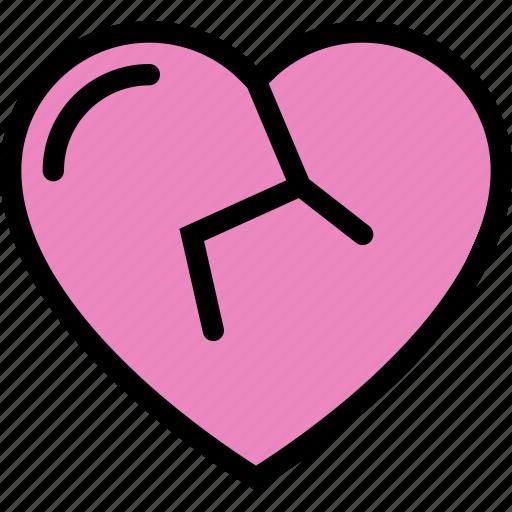 broken, heart, hurt, sad, valentine icon