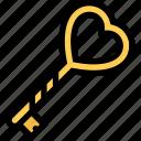 heart, key, lock, love, valentine icon