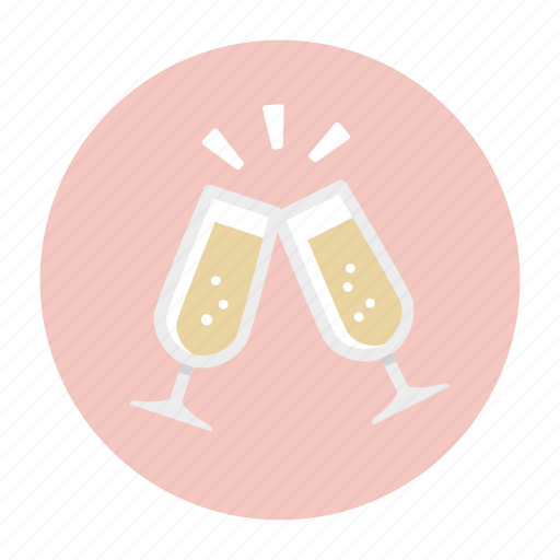 champagne, clink glasses, drink, glass, party, wedding, wine icon