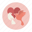 birds, couple, heart, love, valentine, valentine's day icon