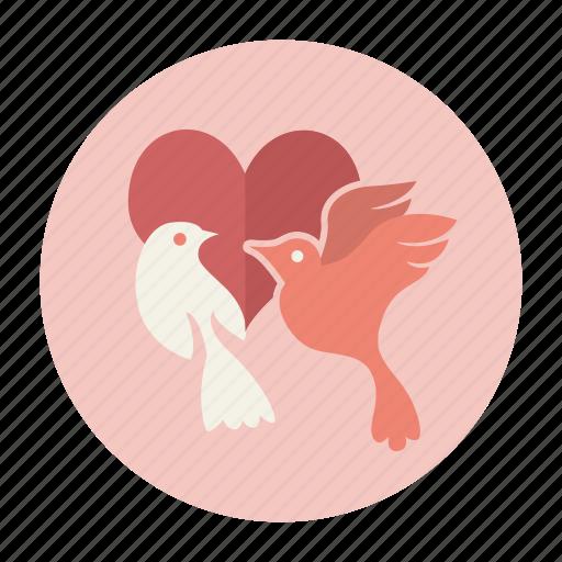 birds, couple, heart, love, valentine, valentine's day icon