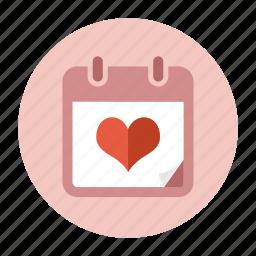 calendar, date, love, schedule, valentine, valentine's day, wedding day icon