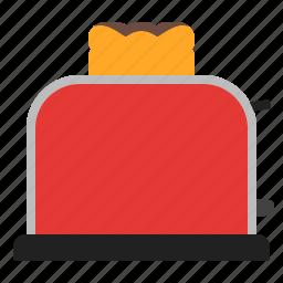 red, toast, toaster icon