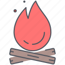 bonfire, campfire, camping, expedition, fire, outdoor, survival icon