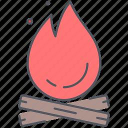 bonfire, campfire, camping, expedition, fire, outdoor, survival icon