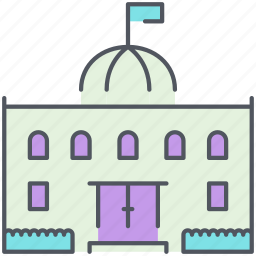 administration, building, city, government, school, structure, university icon