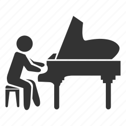 music, note, pianist, piano, sing, song, sound icon