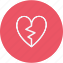 broken, heart, love, shape, sign, valentine icon