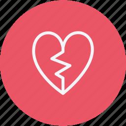 broken, heart, love, shape, sign, valentine icon