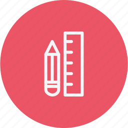 education, engineering, pencil, ruler, sign icon