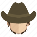 avatar, cowboy, face, guy, hat icon
