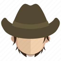 avatar, cowboy, face, guy, hat icon