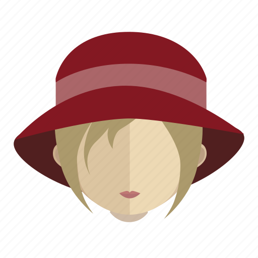 avatar, face, girl, hat icon