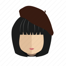 avatar, face, girl, hair, hat icon