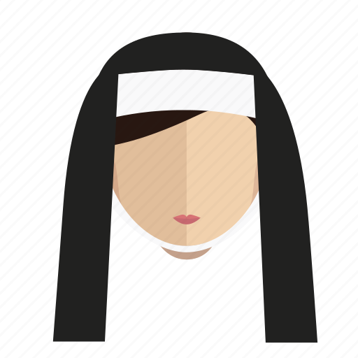 avatar, face, girl, hair, long, nun icon