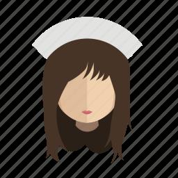 avatar, face, girl, nurse icon
