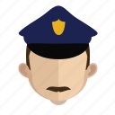 avatar, blue, face, guy, police icon
