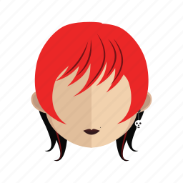 avatar, face, girl, hair, red icon