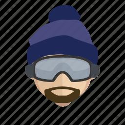 boarding, face, guy, snow icon