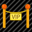 cartoon, decorative, object, poles, sign, tape, vip