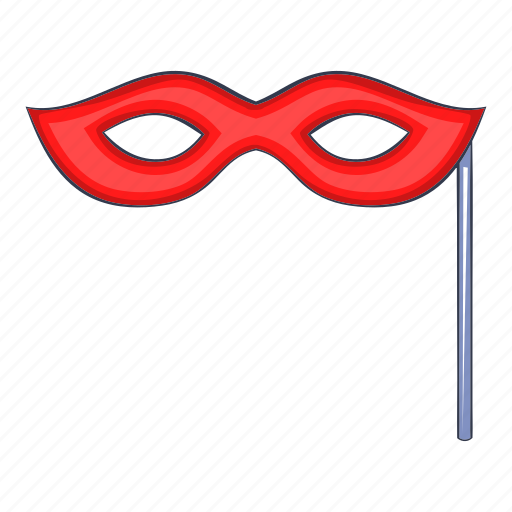 carnival, cartoon, mask, masquerade, object, red, sign icon