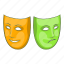 cartoon, festival, happy, mask, masquerade, sad, sign icon