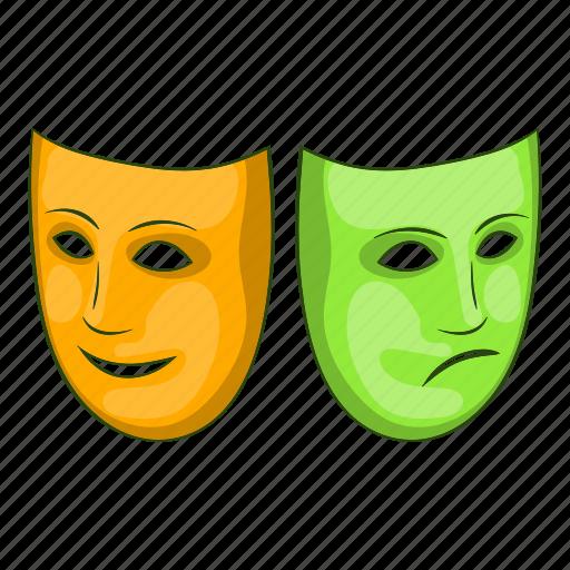 cartoon, festival, happy, mask, masquerade, sad, sign icon