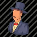 avatar, cartoon, hat, head, male, person, suit