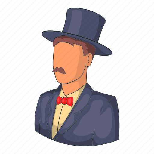 avatar, cartoon, hat, head, male, person, suit icon