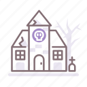 haunted, house, park icon