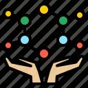 atom, bond, cell, cellular, hand, microscopic, molecular icon
