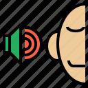 calm, listen, meditate, rhythm, sound, speech, voice icon