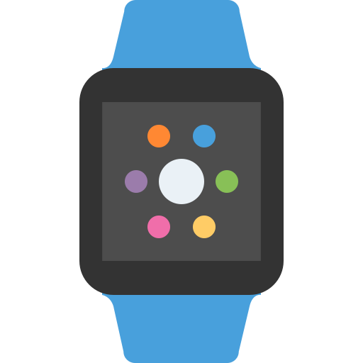 apple, blue, device, phone, watch icon