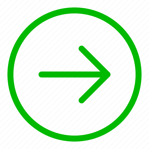 arrow, direction, green, navigation, next, right icon