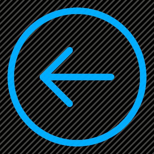 arrow, back, blue, direction, left, move, navigation icon