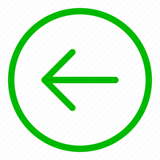 arrow, back, direction, green, left, move, navigation icon