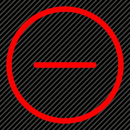 close, collapse, delete, exit, minus, red, stop icon