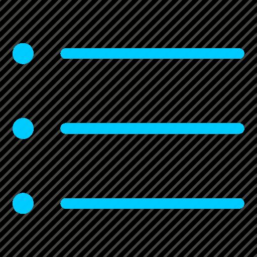 blue, bullets, checklist, list, menu, view icon