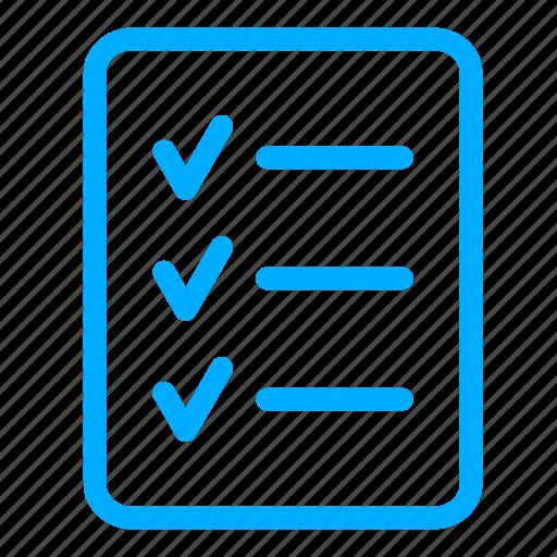 approved, blue, checklist, clipboard, list, report, tasklist icon