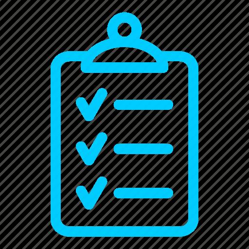 blue, checklist, clipboard, list, report, tasks, ticks icon