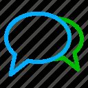 blue, green, bubble, chat, communication, conversation