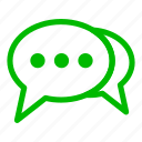 bubble, chat, communication, conversation, green icon