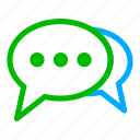 blue, bubble, chat, communication, conversation, green icon