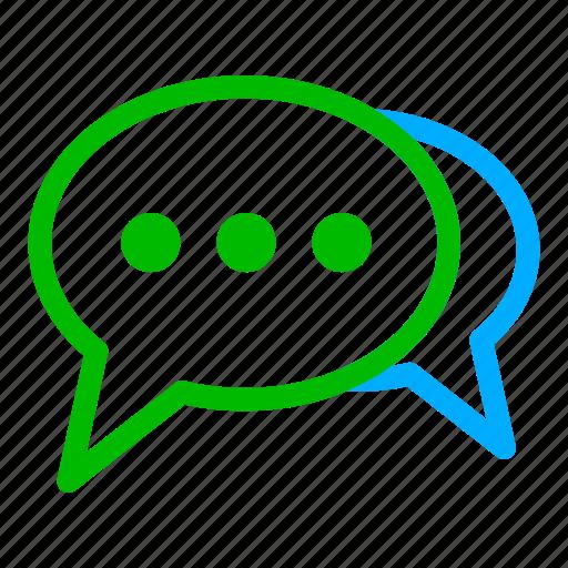 blue, bubble, chat, communication, conversation, green icon