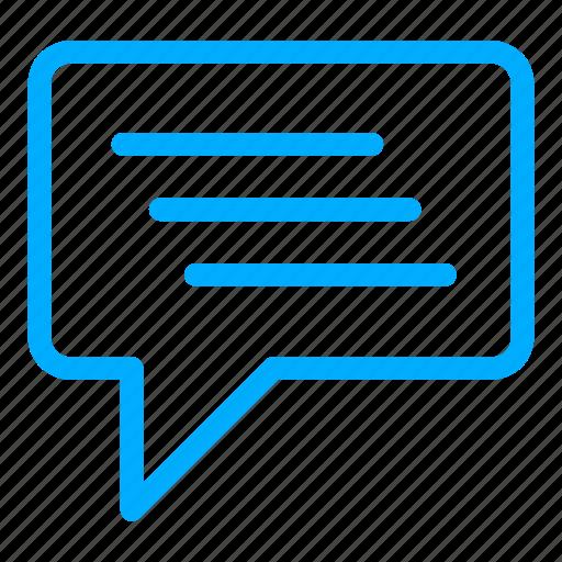 blue, bubble, chat, communication, conversation icon