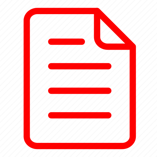data, documents, files, page, paper, red, sheet icon